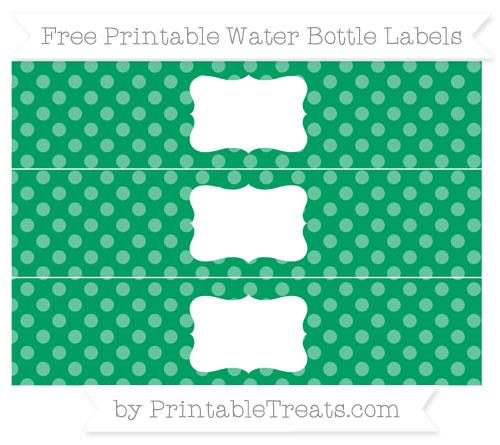 Free Shamrock Green Dotted Pattern Water Bottle Labels