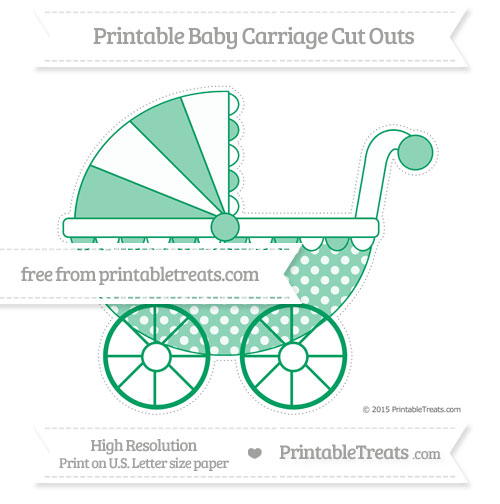 Free Shamrock Green Dotted Pattern Extra Large Baby Carriage Cut Outs