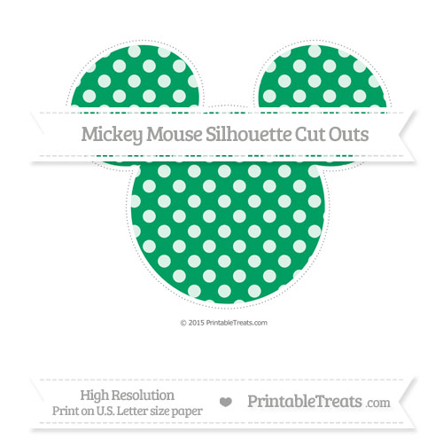 Free Shamrock Green Dotted Pattern Extra Large Mickey Mouse Silhouette Cut Outs