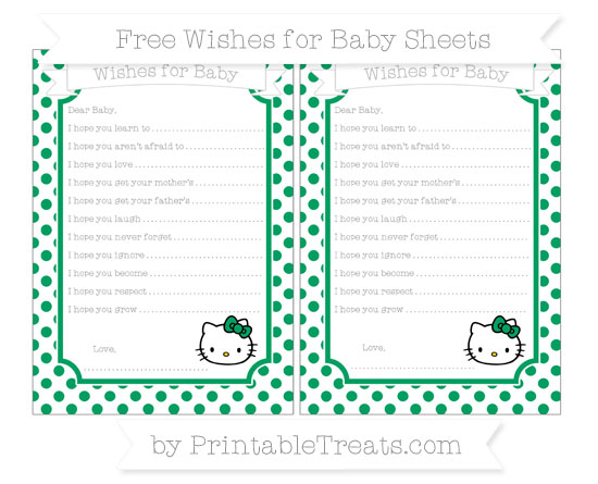 Free Shamrock Green Dotted Pattern Hello Kitty Wishes for Baby Sheets