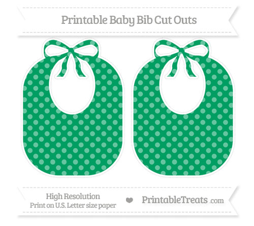 Free Shamrock Green Dotted Pattern Large Baby Bib Cut Outs