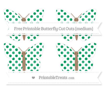 Free Shamrock Green Dotted Pattern Medium Butterfly Cut Outs