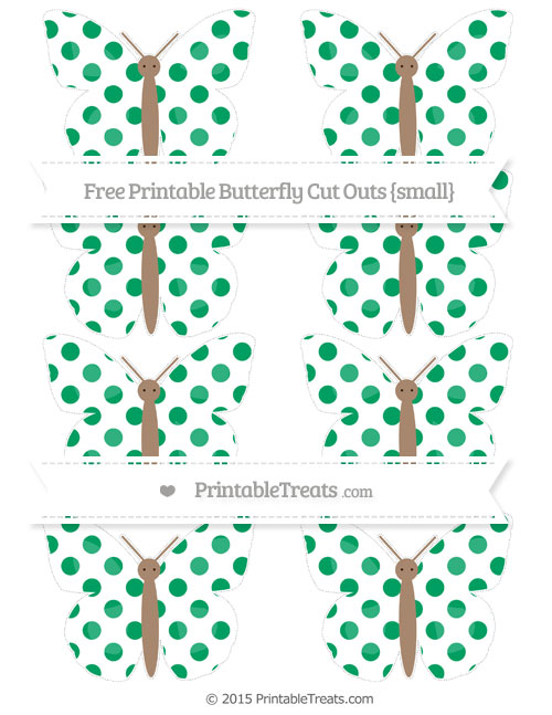 Free Shamrock Green Dotted Pattern Small Butterfly Cut Outs