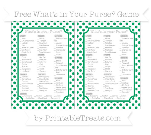 Free Shamrock Green Dotted Pattern What's in Your Purse Baby Shower Game