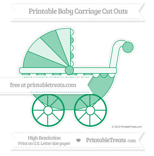 Free Shamrock Green Extra Large Baby Carriage Cut Outs