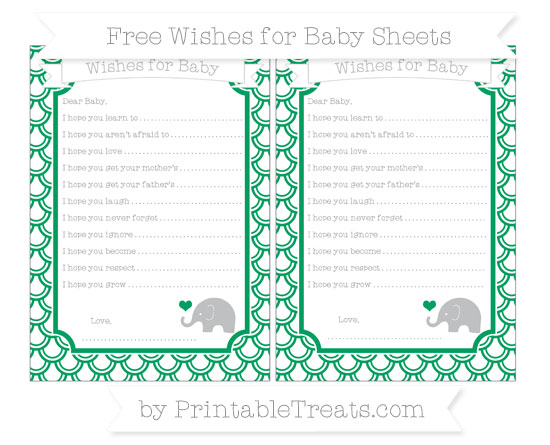 Free Shamrock Green Fish Scale Pattern Baby Elephant Wishes for Baby Sheets