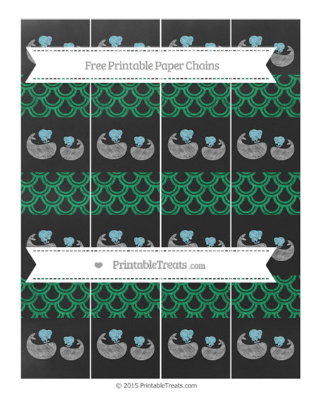 Free Shamrock Green Fish Scale Pattern Chalk Style Baby Whale Paper Chains