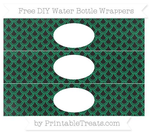 Free Shamrock Green Fish Scale Pattern Chalk Style DIY Water Bottle Wrappers
