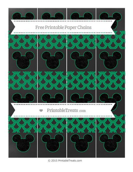 Free Shamrock Green Fish Scale Pattern Chalk Style Mickey Mouse Paper Chains