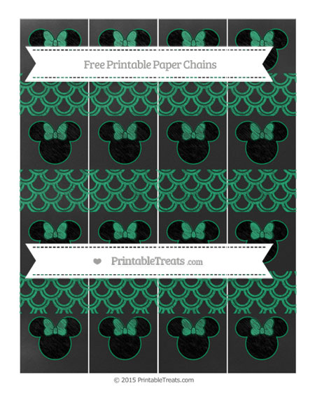 Free Shamrock Green Fish Scale Pattern Chalk Style Minnie Mouse Paper Chains