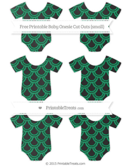 Free Shamrock Green Fish Scale Pattern Chalk Style Small Baby Onesie Cut Outs