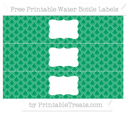 Free Shamrock Green Fish Scale Pattern Water Bottle Labels