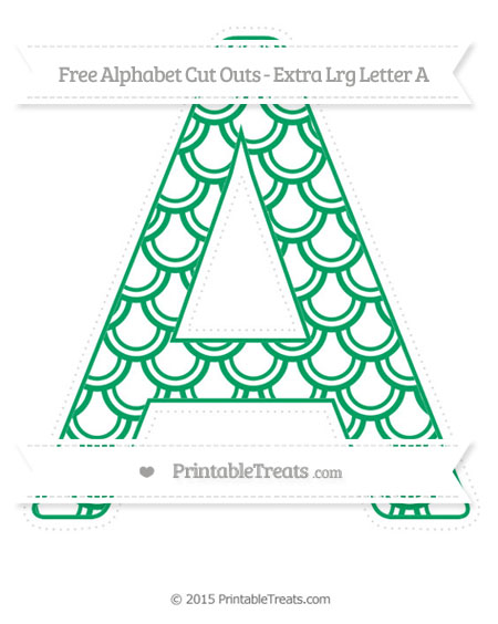 Free Shamrock Green Fish Scale Pattern Extra Large Capital Letter A Cut Outs