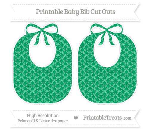 Free Shamrock Green Fish Scale Pattern Large Baby Bib Cut Outs