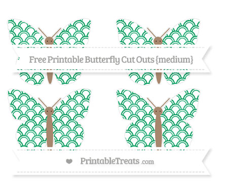 Free Shamrock Green Fish Scale Pattern Medium Butterfly Cut Outs