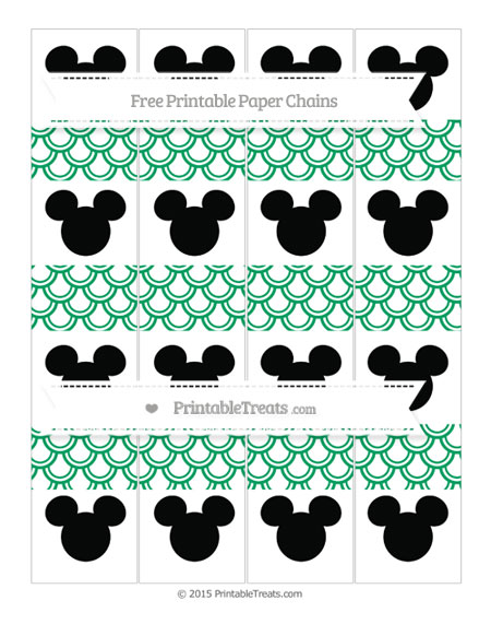 Free Shamrock Green Fish Scale Pattern Mickey Mouse Paper Chains
