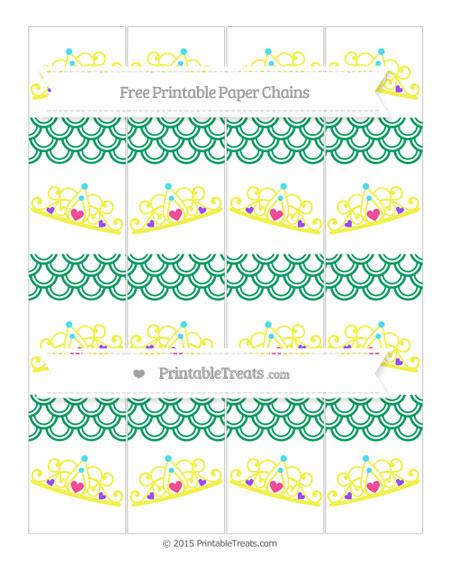 Free Shamrock Green Fish Scale Pattern Princess Tiara Paper Chains