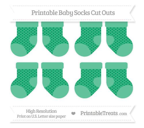 Free Shamrock Green Fish Scale Pattern Small Baby Socks Cut Outs