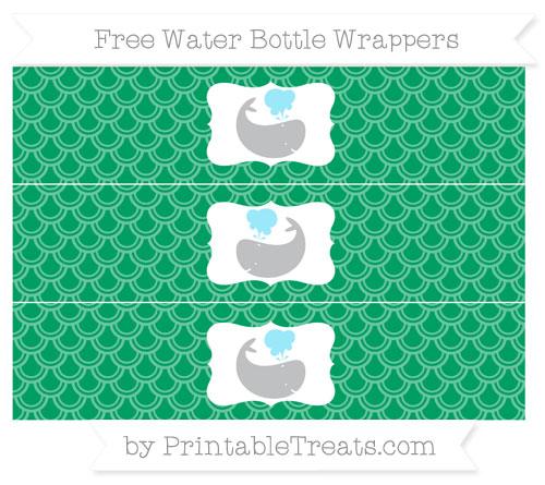 Free Shamrock Green Fish Scale Pattern Whale Water Bottle Wrappers