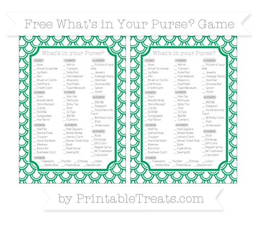 Free Shamrock Green Fish Scale Pattern What's in Your Purse Baby Shower Game