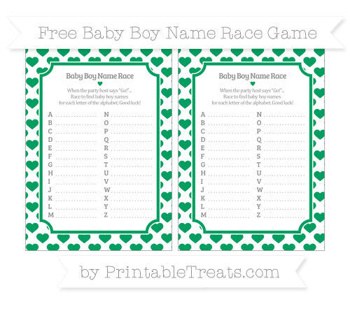 Free Shamrock Green Heart Pattern Baby Boy Name Race Game