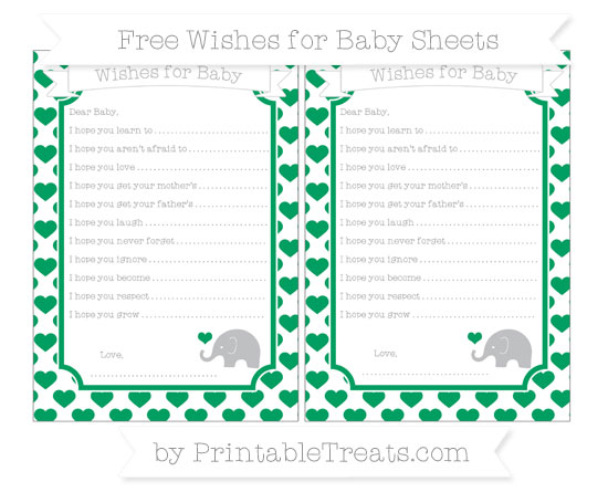 Free Shamrock Green Heart Pattern Baby Elephant Wishes for Baby Sheets