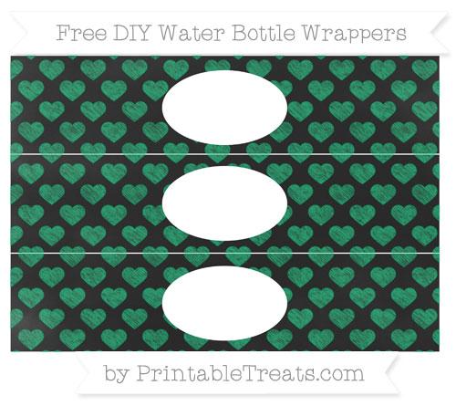 Free Shamrock Green Heart Pattern Chalk Style DIY Water Bottle Wrappers