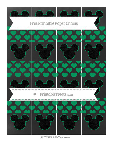 Free Shamrock Green Heart Pattern Chalk Style Mickey Mouse Paper Chains