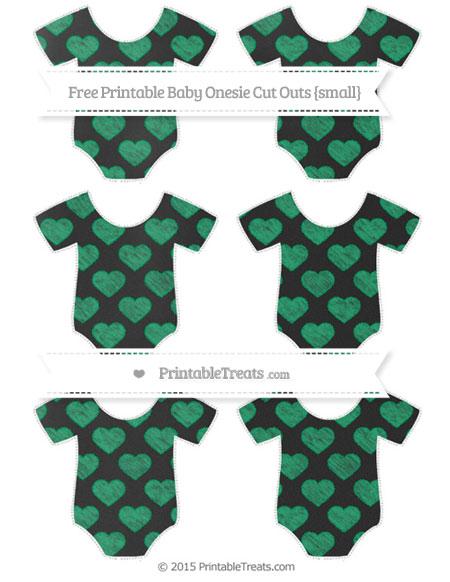 Free Shamrock Green Heart Pattern Chalk Style Small Baby Onesie Cut Outs