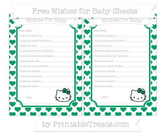 Free Shamrock Green Heart Pattern Hello Kitty Wishes for Baby Sheets