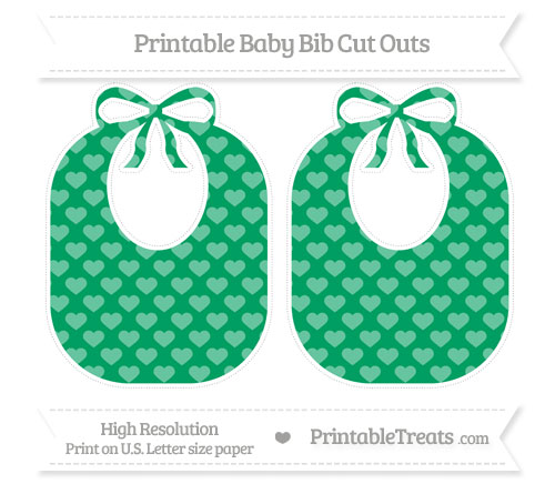 Free Shamrock Green Heart Pattern Large Baby Bib Cut Outs