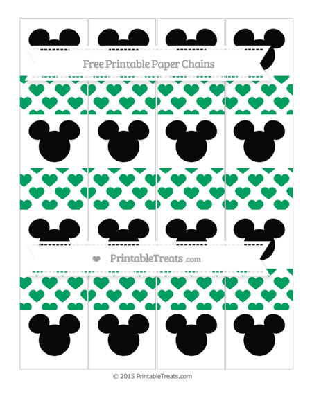Free Shamrock Green Heart Pattern Mickey Mouse Paper Chains