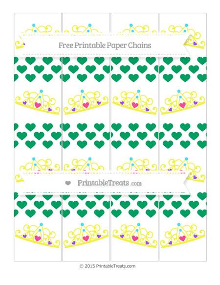 Free Shamrock Green Heart Pattern Princess Tiara Paper Chains
