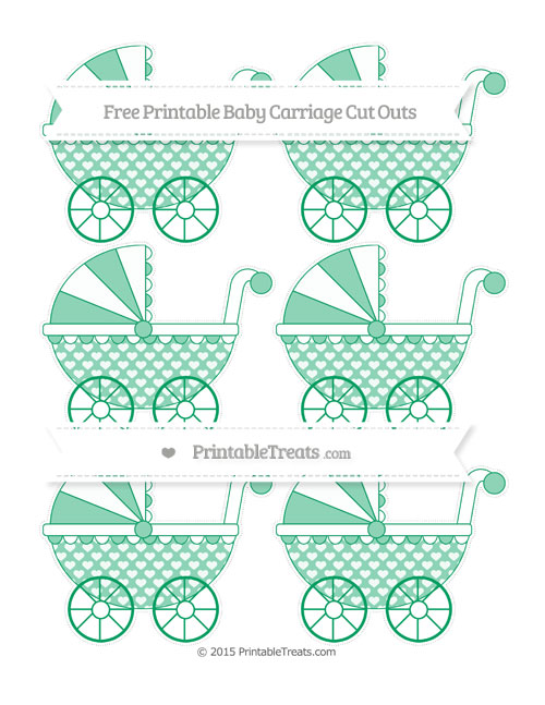 Free Shamrock Green Heart Pattern Small Baby Carriage Cut Outs