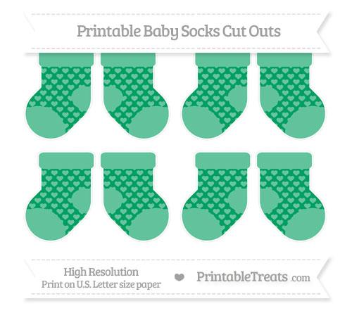 Free Shamrock Green Heart Pattern Small Baby Socks Cut Outs