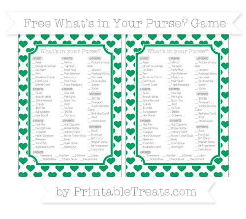 Free Shamrock Green Heart Pattern What's in Your Purse Baby Shower Game