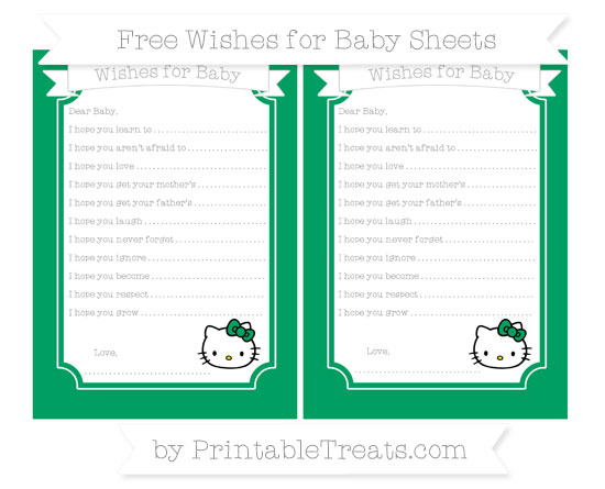 Free Shamrock Green Hello Kitty Wishes for Baby Sheets