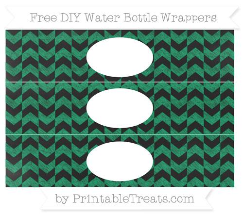 Free Shamrock Green Herringbone Pattern Chalk Style DIY Water Bottle Wrappers