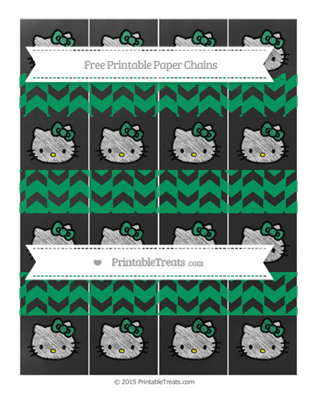 Free Shamrock Green Herringbone Pattern Chalk Style Hello Kitty Paper Chains