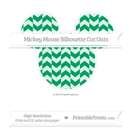 Free Shamrock Green Herringbone Pattern Extra Large Mickey Mouse Silhouette Cut Outs