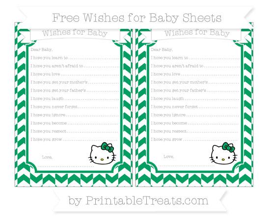 Free Shamrock Green Herringbone Pattern Hello Kitty Wishes for Baby Sheets