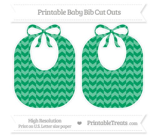 Free Shamrock Green Herringbone Pattern Large Baby Bib Cut Outs