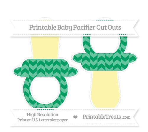 Free Shamrock Green Herringbone Pattern Large Baby Pacifier Cut Outs