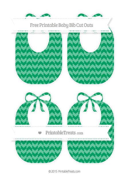 Free Shamrock Green Herringbone Pattern Medium Baby Bib Cut Outs
