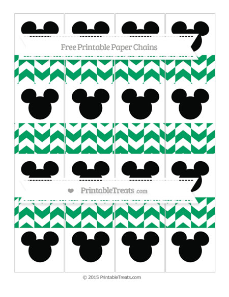 Free Shamrock Green Herringbone Pattern Mickey Mouse Paper Chains