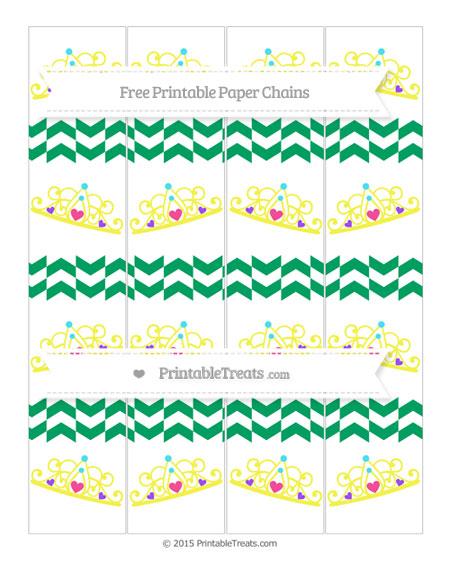 Free Shamrock Green Herringbone Pattern Princess Tiara Paper Chains