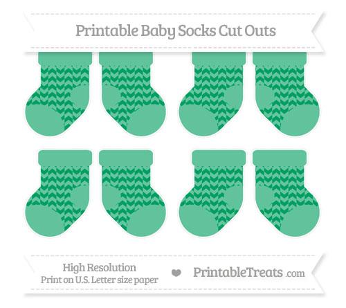 Free Shamrock Green Herringbone Pattern Small Baby Socks Cut Outs
