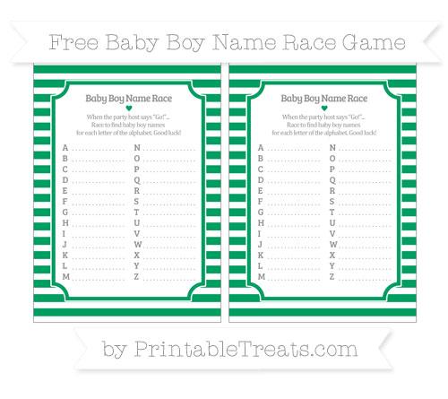 Free Shamrock Green Horizontal Striped Baby Boy Name Race Game