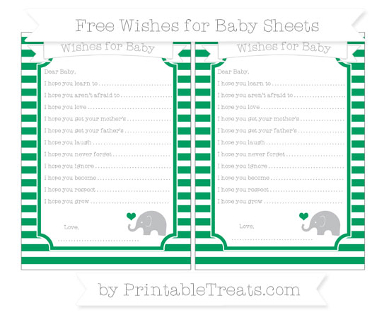 Free Shamrock Green Horizontal Striped Baby Elephant Wishes for Baby Sheets