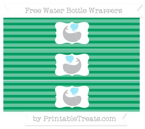 Free Shamrock Green Horizontal Striped Whale Water Bottle Wrappers